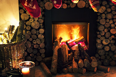Wood Log Burning Fire