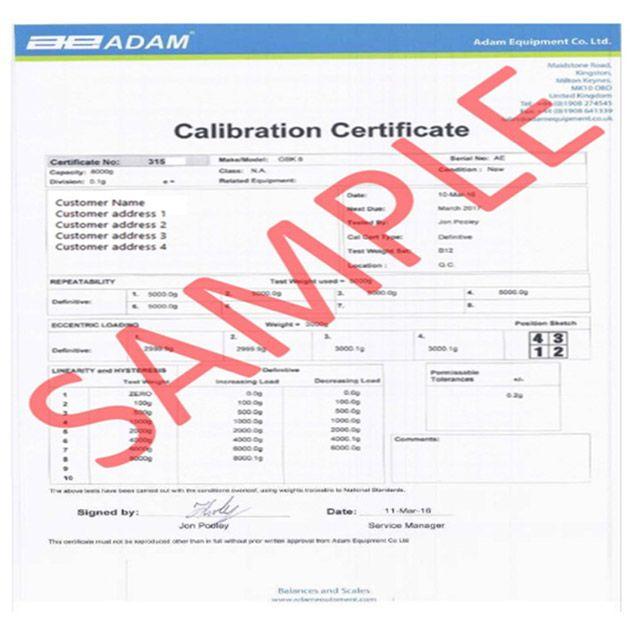 Inscale Calibration Certificate Level 2